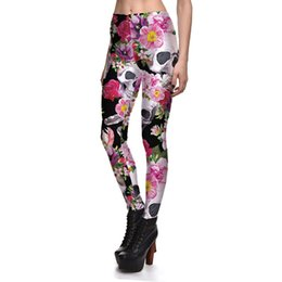 Wholesale Plus Size Floral Leggings - JIGERJOGER 2017 Plus size Halloween holiday floral blossom Petunia skull breathable active Leggings fit running jeggings pants