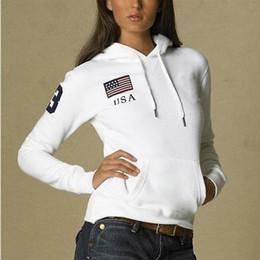 Gilet national en Ligne-Sweat-shirt de polo femme 201New Brand big horse Solid 100% coton automne hiver casual avec drapeau national Polo Sweat-shirts