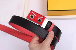 Wholesale Silver Needles - 2017 High quality FD Cartoon monster leather fashion Smooth pattern picture Belts designer Belt Men and women brand Belt with box