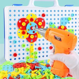 2019 bâtiments électriques Jouets pour enfants Drill Puzzle Jouets éducatifs DIY Vis Groupe KidsTool Kit Plastique Garçon Jigsaw Mosaic Conception Jouet de construction