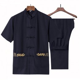 Wholesale traditional chinese cotton shirt - Chinese Traditional Tang Suit Loose Embroidery Tai Chi Kung Fu Set Summer Cotton Linen Mandarin Collar Shirt&Pant Size S-3XL