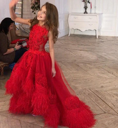 be981af5d25 Red Feather Girls Pageant Dresses Jewel Neck Appliqued High Low Toddler Flower  Girl Dress Lace Tulle First Communion Gowns