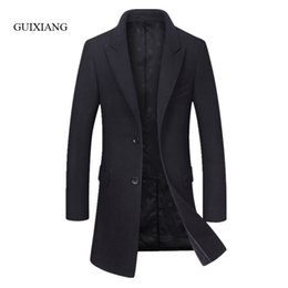 Wholesale Wollen Coats - 2017 New Arrival Autumn and Winter style men boutique wollen coat business casual single breasted solid slim men overcoat M-3XL