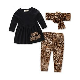 Wholesale kids fall outfits - Happy New Year Girls Clothes Long Sleeve Fall Kids Clothing Set Cheetah Print Girls Tshirt Pants Outfit Retail Baby Clothes B11