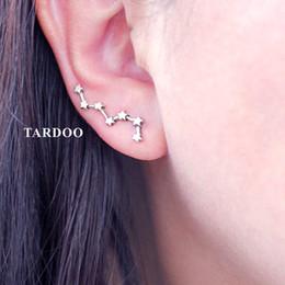 modelos de estrellas de plata Rebajas Tardoo 925 Sterling Silver Hook Earrings Siete Estrellas Modelado Brillante Brillante Pendientes de Plata 925 Jewelry for Women