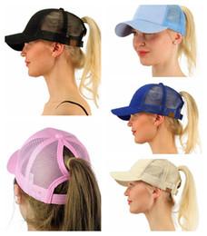 Wholesale Protection Caps - New Arrivals Ponytail CC Baseball Cap Summer sun protection Women Beach Mesh baseball cap Hat Snapback Adjustable EEA27