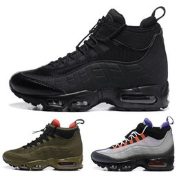 Wholesale Cheap Cowboy Shoes - Air 95 20th Anniversary MID Shoe Cheap Air 95s Sneakerboot Army Boots Men Autumn Winter ankle Sealed-zip Training Retro Sneakers Boot