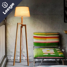 Wholesale High End Light Switches - Nordic wood art simple floor lamp retro simple high - end hotel hotel room lights cloth three - foot floor lamp