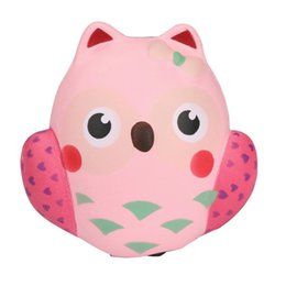 Wholesale Owl Pendant Pink - Squishy Pink Owl 11cm Slow Rising Toy Relieve Stress Cake Sweet Animal PU Cell Phone Strap Phone Pendant Key Chain Toy Gift
