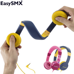 Wholesale over ear headphones yellow - EasySMX KM-666 Portable Kids Headphones Safely Children Over-Ear Headset with Adjustable headband for Xiaomi Samsung Smartphone