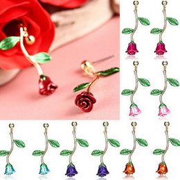 orecchini di diamanti rubino Sconti Nuova Europa E America Giappone e Corea del Sud Rose Orecchini ciondolo in lega Rose Orecchini D0549