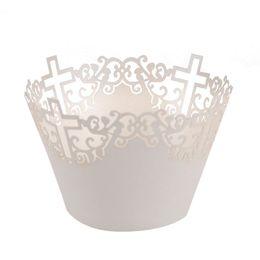 Canada 50 pcs Filigree Vine Cross Cupcake Wrappers Nuages Muffin Papier Coupe Gâteau De Mariage Boîte De Cadeau De Fête D'anniversaire Favor Bébé Douche Décor supplier vine paper Offre