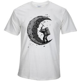 Wholesale Gold Moon - 100% cotton digging the moon print casual mens o-neck t shirts fashion men's tops men T-shirt short sleeve men tshirt 2018
