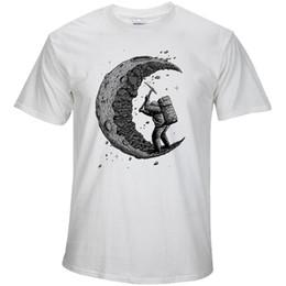 Wholesale T Shirt Pink Print - 100% cotton digging the moon print casual mens o-neck t shirts fashion men's tops men T-shirt short sleeve men tshirt 2018