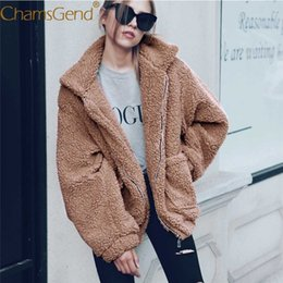 Wholesale Mandarin Coat - Wholesale-Chamsgend 2017 new fashion women jacket winter warm Faux lambswool oversized jacket women clothing coat sweater windbreaker 77#