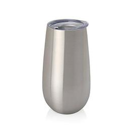 Flautas de oro online-Vasos de flauta pre-ventas de 6 oz Rose Gold Vasos de vino de acero inoxidable Vasos de vino de doble pared con aislamiento al vacío Hueveras