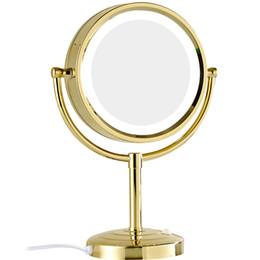 GURUN 10x / 1x grossissement miroir de maquillage avec des lumières LED double face ronde en verre cristal miroir debout finition or M2208DJ ? partir de fabricateur