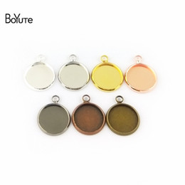Wholesale copper pendant trays - BoYuTe 50 Pcs 6 Colors Plated Round 10MM 12MM 14MM 16MM 18MM 20MM 25MM Cameo Cabochon Base Diy Blank Tray Pendant Base