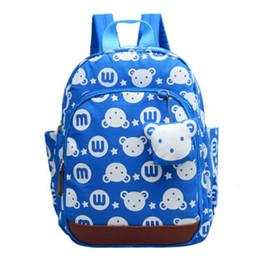 100pcs lot Cute Anti-lost Kids Rabbit Bear Dolls Applique Canvas Backpack  Mini Baby Toddler Book Bag Kindergarten Rucksacks bfbb81a6c632a