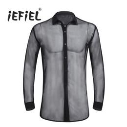 Deutschland IEFiEL Sexy Mens Modische Durchsichtig Mesh Langarm Clubwear Soft Top Shirt Wetlook Nacht Party Kleidung für Herren Shirts cheap shirt night Versorgung