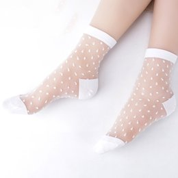 Wholesale Transparent Glass Socks - 2017 Hot Summer Woman Socks Female Thin Crystal Glass Silk Transparent Socks Girls Stretch Chaussette Femme Calcetines