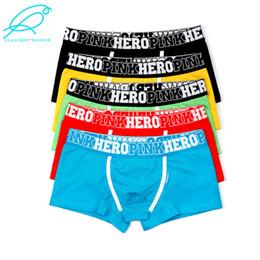 mix de cuecas de homem Desconto [5 pçs / lote cores misturadas] Pink Hero Famosa Marca de Algodão dos homens Boxer Underwear Calcinha Calções Homem Plus Size Por Atacado