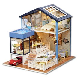 casa de bonecas de madeira artesanal Desconto Handmade montar diy casa de boneca de madeira de brinquedo de madeira miniaturizada casas de boneca brinquedos com móveis led luzes presente de aniversário para crianças