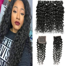 Wholesale lace closures peruvian wavy hair - Brazilian Water Wave Hair Bundles With Closure Curly Weave Indian Wet and Wavy Human Hair With Lace Closure Peruvian Brazilian Virgin Hair