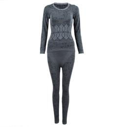Wholesale Long John Thermals Wholesale - SYB 2016 NEW Women Round Neck Thermal Set Winter Tops&Pants Long Johns Pajama Sets Gray