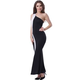 Wholesale One Shoulder Clubwear Dress Black - plus size sexy spring dresses vintage women dress one shoulder party clubwear striped patchwork balck white bodycon dress women