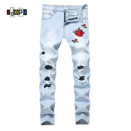 Wholesale Black Floral Jeans - Fashion Mens Ripped Jeans Floral Embroidery Straight Fit Lightblue Denim Pants Vintage Washed Destroyed Jeans With Holes For Men