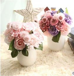 2019 chrysantheme blumenstraußhochzeit Künstliche Blumen Gefälschte Rose Dahlie Chrysantheme Bouquet Multicolor Silk Blume Für Hochzeit Braut Bouquet Home Wohnzimmer Dekoration rabatt chrysantheme blumenstraußhochzeit