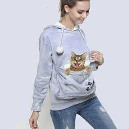 Wholesale Pet Sleeves - Cat Lovers Hoodie Kangaroo Dog Pet Paw Emboridery 2018 Autumn New Pullovers Cuddle Pouch Sweatshirt Pocket Animal Ear Hooded