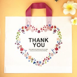 Wholesale handle gift bags - White Plastic Shopping Bag with Handle Carrier THANK YOU Heart Flower Print Boutique Packaging Wholesale ZA5854
