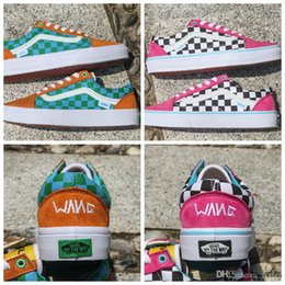2018 Golf Wang Old Skool Checkered Designer Shoes zapatillas de deporte  Womens mens Trainers Pink Green Casual Canvas Sports Sneakers 934204afa