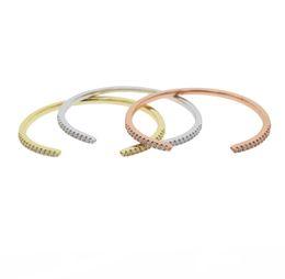 bangles bracelets girl UK - Chic dainty Bracelets Bangles for Women Rose Gold Silver Color Cuff Bangle girl Crystal Jewelry Valentine 's pulseira feminina