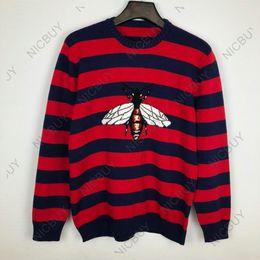 Diseñador de moda marca de lujo para hombre ropa Europa flocado rojo azul a rayas BEE LOIVED suéter de lana sudadera jersey Jumpers desde fabricantes