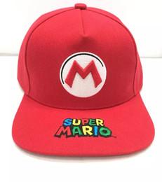 Супер Марио Брос 2018 Мода Бейсболка Марио Вышивка Мультфильм Мальчики Мужчины Солнцезащитные шлемы Плоские шляпы Snapback от