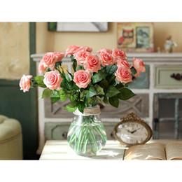 Yüksek Kaliteli Vazo Çiçekler Yapay Gül Çiçekler Düğün Gelin Buketi İpek Gül DIY Ev Dekor Gül Çiçekler nereden