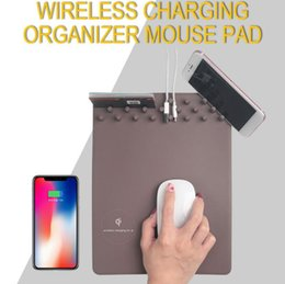 Wholesale mouse note holder - 3 in 1 Mobile Phone Chargers QI Wireless Charging Mouse Pad Anti Slip Holder Suitable For iPhone X for sumsung note 8
