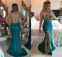 Wholesale Turquoise Blue Split Prom Dresses - 2018 Turquoise Hunter Mermaid Prom Long Sleeve Evening Dresses Sparkly Rhinestones Beaded Lace Appliques Split Prom Dresses Illusion Back