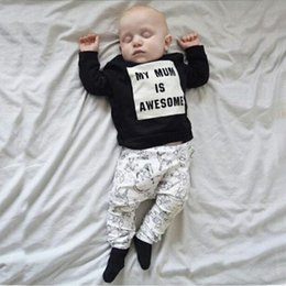 Wholesale Maternity T Shirt Baby - 2018 Infants clothing Maternity Ins Outfits for baby My mom is Awesome Letters Animals Print Clothing Sets T-shirt Tops + Pants 3M-2T