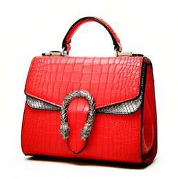 Wholesale Dresses Elegant Diamonds - 2018 new fashion Elegant lady Snake head package crocodile pattern postman retro casual buckle shoulder bag handbag