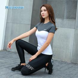 Wholesale Korean Women Sport Set - HUCOINHOW Yoga Set Women's Tight Leggings +Yoga Shirt Korean Quick-drying Fitness Clothing Running Sports Suit Slim Trousers
