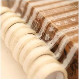 Wholesale Free Scrapbooking Stickers - Wholesale- 5 Rolls lot Transparent Lace PVC Sticker Masking Tape Wedding Party Favors DIY Scrapbooking Home Decoration Free Shipping 1227