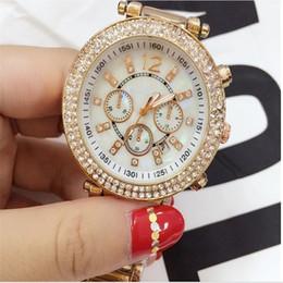 Wholesale metal clock dials - Cheap price high quality aaa watch Ladies Designer Luxury brand full diamond watches women White calendar dial rose gold metal thin clock