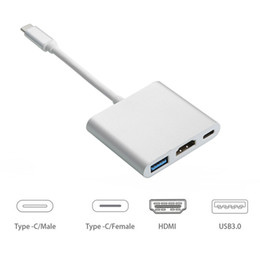 Wholesale tv wholesaler china - Multifunctional 3 in 1 USB-C Hub USB 3.0 HDMI TV Video Type-C Adapter for Tablet 10pcs up