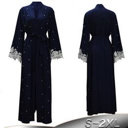 2019 ropa islámica turca Talla grande Robe Malasia Kaftan Abaya Dubai Mujeres Perla de encaje Kimono Cardigan musulmán Hijab vestido turco islámico ropa ropa islámica turca baratos