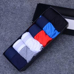 Wholesale Sexy Boys Underwear - Luxury Brand Mens Underwear Boxers Letter Sexy Soft Cotton Underpants Sports Casual Underwears For Men Boys 6 Color 4 Size Free Shipping 64