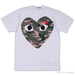 Wholesale Womens Camo Shorts Xl - 2018 AAA Quality Hot HOLIDAY Heart Emoji PLAY Japanese Camouflage Camo Heart Gray White T Shirt Mens Womens